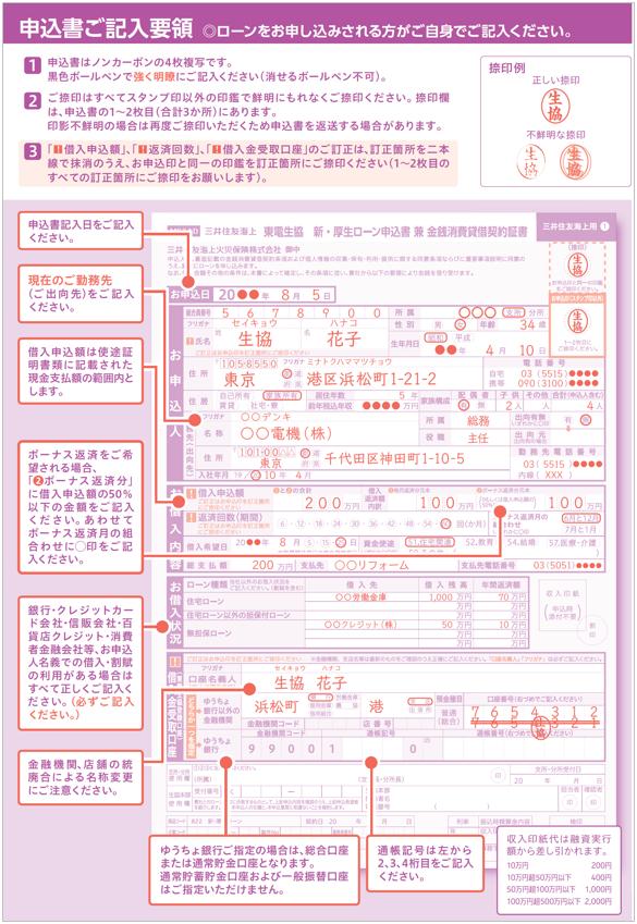 新・厚生ローン記入例